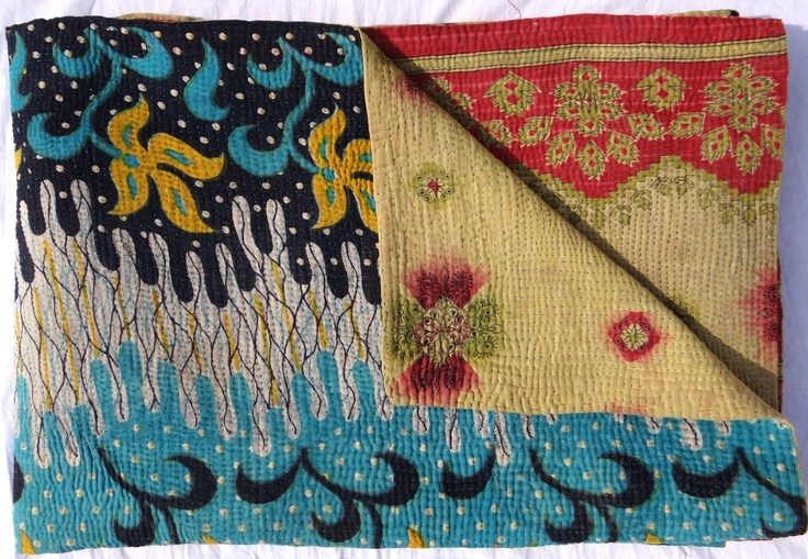 kantha quilt | reversible kantha quilt by maharaniarts on Etsy