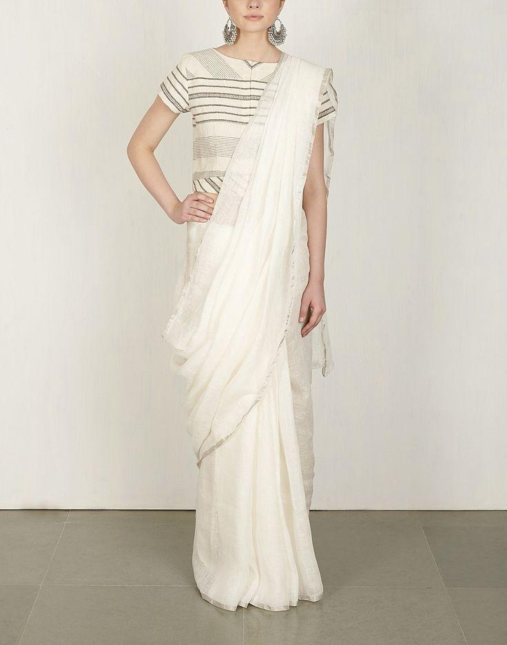 Basic White linen Saree-Anavila- img1