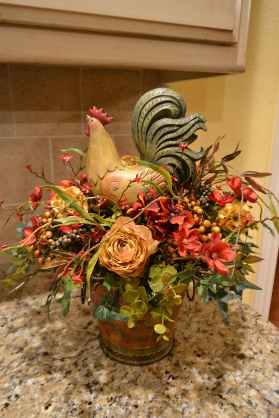 Colorful Rooster Arrangement  Home Decor  Rooster kitchen decor Kitchen decor Rooster decor