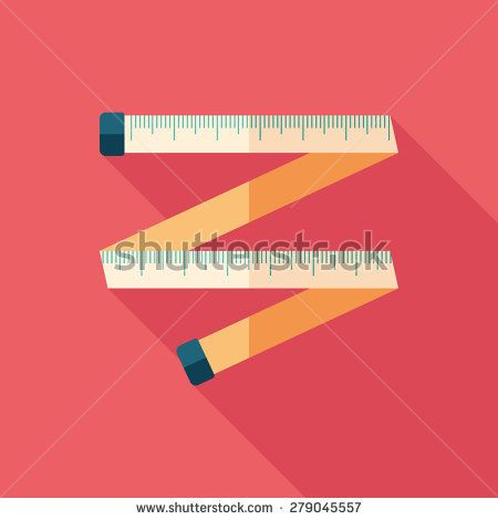 Colorful tape measure flat square icon with long shadows. #sport #sporticons #flaticons #vectoricons #flatdesign