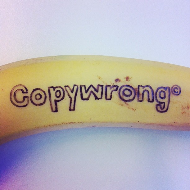 "Can you copyright a banana? No, but you can draw on it. (There are lots more ""banana drawings"" here.)"