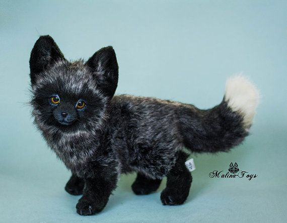 Silver Fox Stuffed Animal, Made To Order Handmade Posable Silver Fox Pup Fox Plush Fox Pups Fox Plush Fox Toys