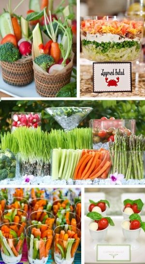 Love the idea of clear cups with dip in the bottom and cut veggies as a carry around snack or appetizer.               Grand parties Search on Indulgy.com
