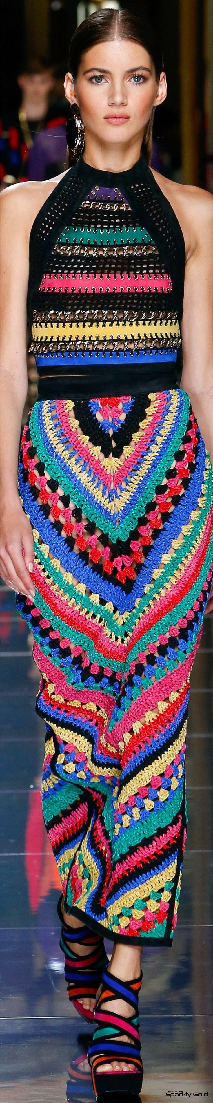 Multicolour dress. Balmain Spring 2017 Menswear.                                                                                                                                                                                 More
