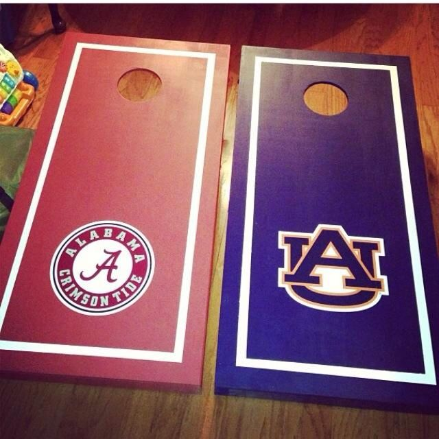 Corn hole boards my husband makes. House divided