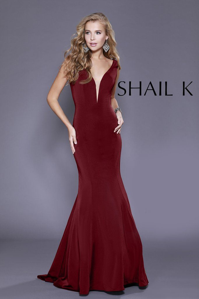 d3d79ad7a1 Plunging Neckline Burgundy Mermaid Style Prom Dress 33932 in 2019 ...
