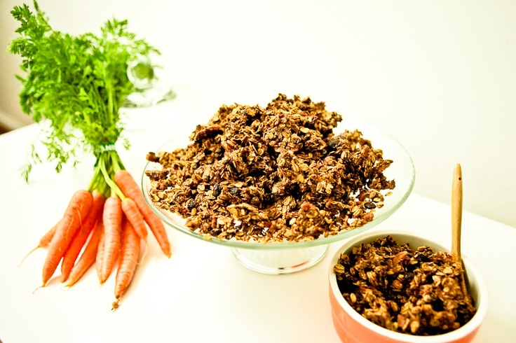 Carrot Cake Granola - In the oven now, smells good!