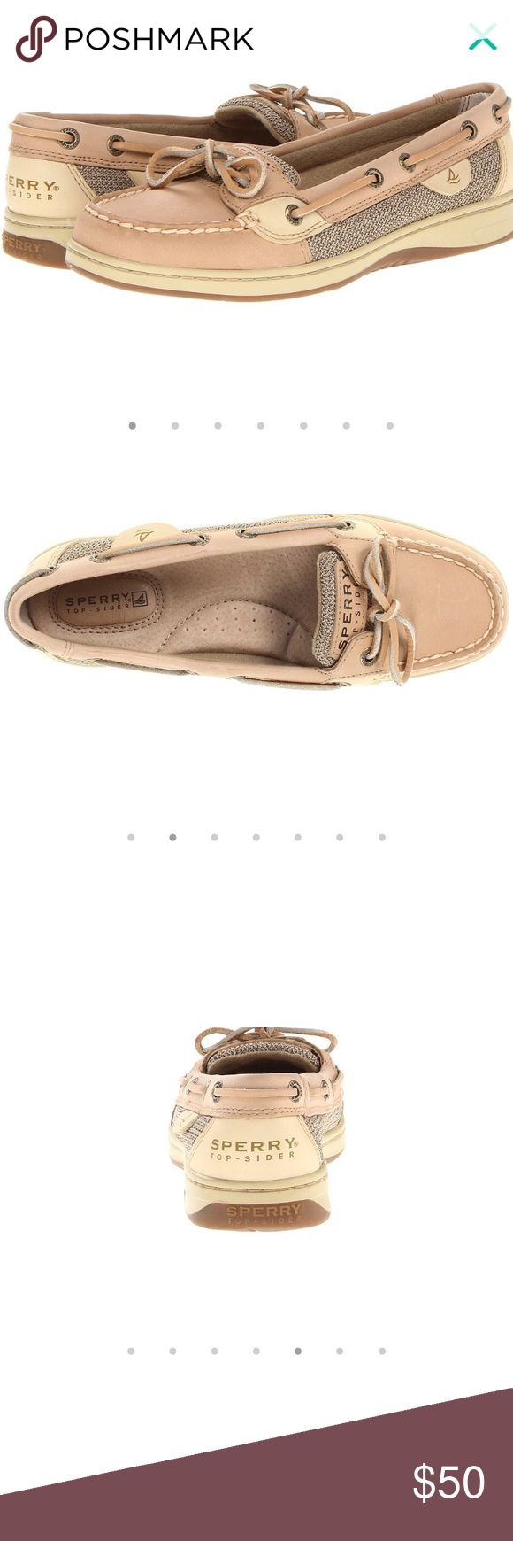 Sperry Angelfish Topsider women's SKU: #8979049 Used, size 8M, good condition, hardly worn, just sitting at the bottom of a closet for a while.  The Angelfish captures classic boat shoe style in a feminine design. Stain and water-resistant leather upper for durable and lasting wear. Genuine hand-sewn construction for durable comfort. Features unique textile patterns on side panels and tongue. Sperry Top-Sider Shoes