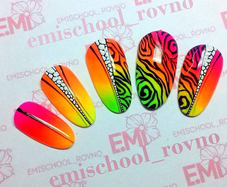 Colorful animal print nail art