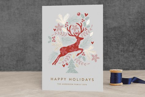 """Jumping Reindeer"" - Animal, Floral #merry #happyholidays #foil #gold #rosegold #merrychristmas #photocards #minted #holidayscards #cards #christmas #holiday #happynewyear #cheers #love"