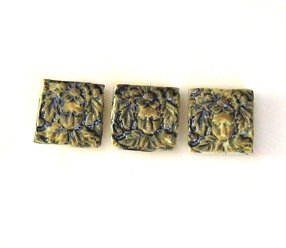 Ceramic Magnets Set of 3 Woodland Elf Faces with by midnightcoiler, $9.00