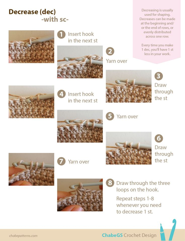 Photo tutorial on how to decrease stitches with single crochet (UK double crochet), step by step instructions