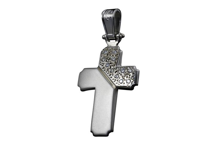Handmade Cross 925 Sterling Silver with Zircon Sandblasted and Rhodium Platinized