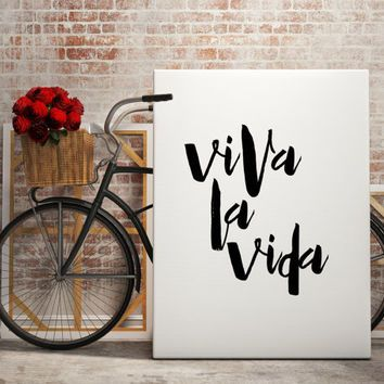 "Spanish Quote ""Viva La Vida"" Spanis poster Typography art Wall ArtWork Inspiring quotes Printable poster Motivational art Typographic print"