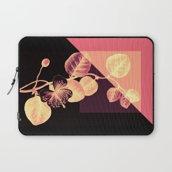 flower on pink,purple and black Laptop Sleeve