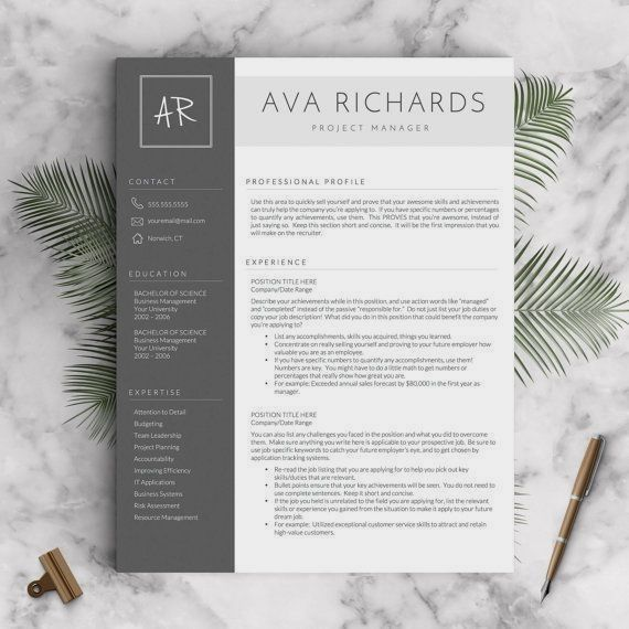 modern resume template for word  u0026 pages  the ava