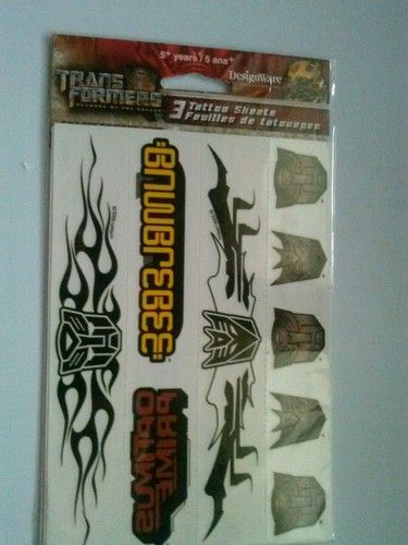 Transformers tattoos for sale have 20 packs 1 pack  .59 cent or buy all make offer