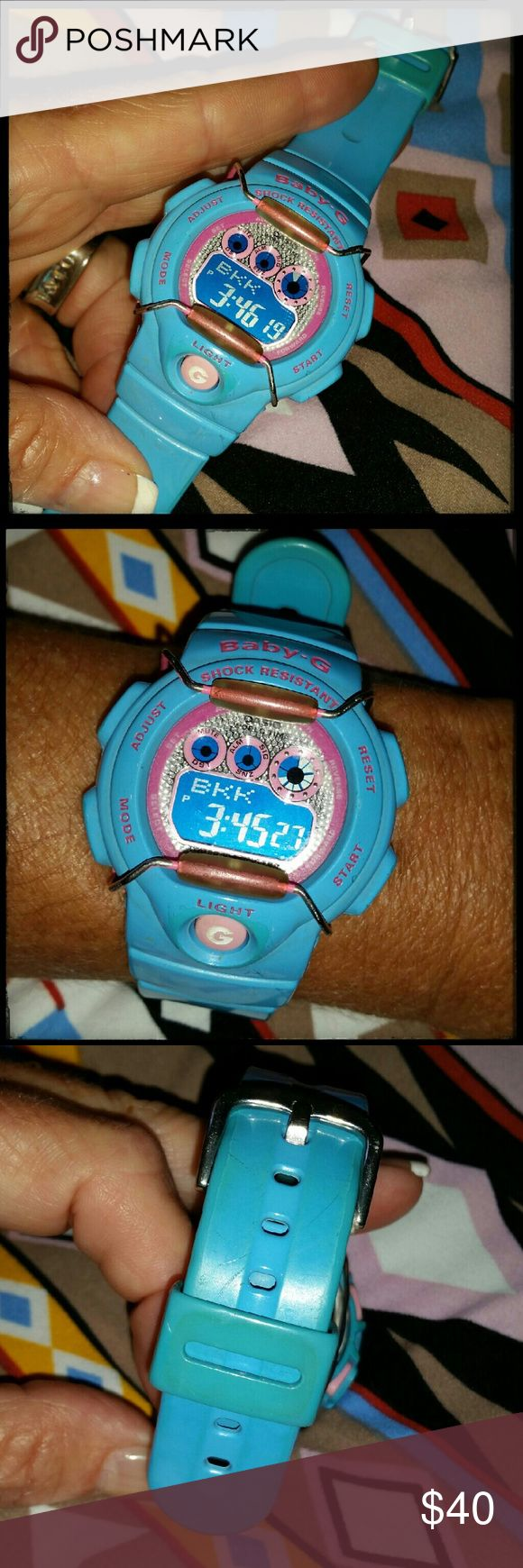 Baby G Shock Blue Baby-G w/pink. Good battery, no scratches on the face, the band has slight discoloration from wear. Price adjusted accordingly. G Shock  Accessories Watches