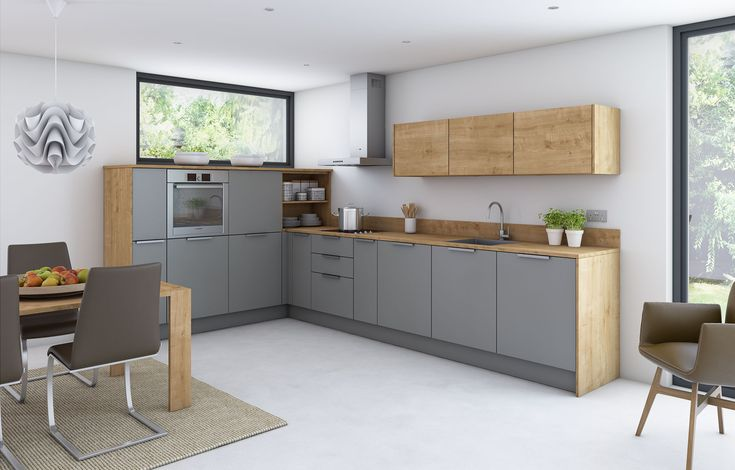 Dust grey coordinates well with new woodgrains like this Natural Arlington Oak