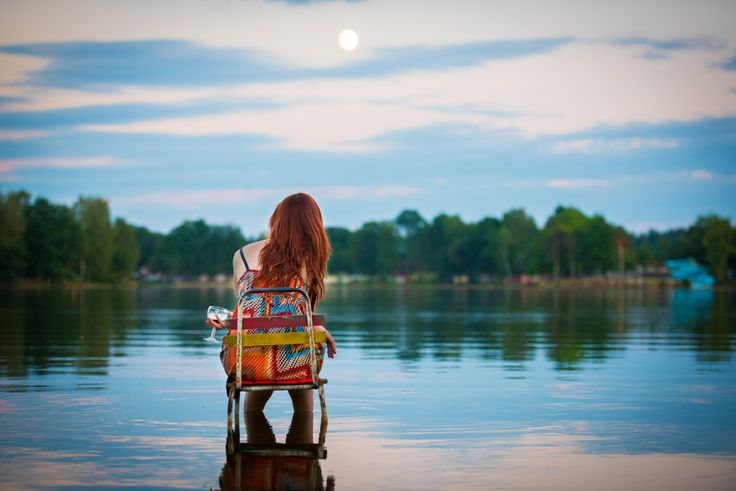 Portrait Photography, Art Photography, Lakescape, Water, Pond, Woman in Dress, Color photo, Colorful Dress, Summer, Holiday - Wine Time by TheKnoxPhotography on Etsy