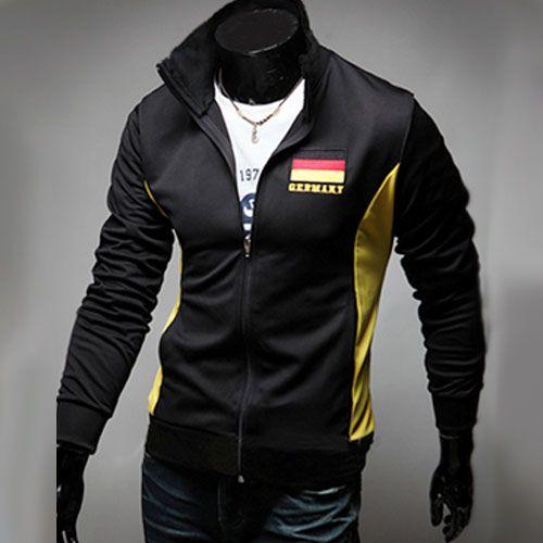 Veste Jogging Homme Fashion Casual Coupe du monde Jacket Sport Allemagne Noir