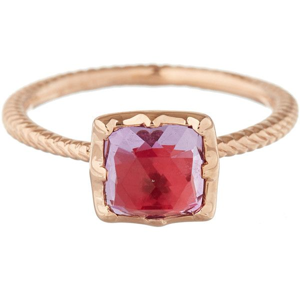 Larkspur & Hawk Rose Gold Pink Amethyst Bella Stacking Ring (£1,150) ❤ liked on Polyvore featuring jewelry, rings, pink rose gold ring, rose gold amethyst ring, pink gold rings, pink ring e stackable rings