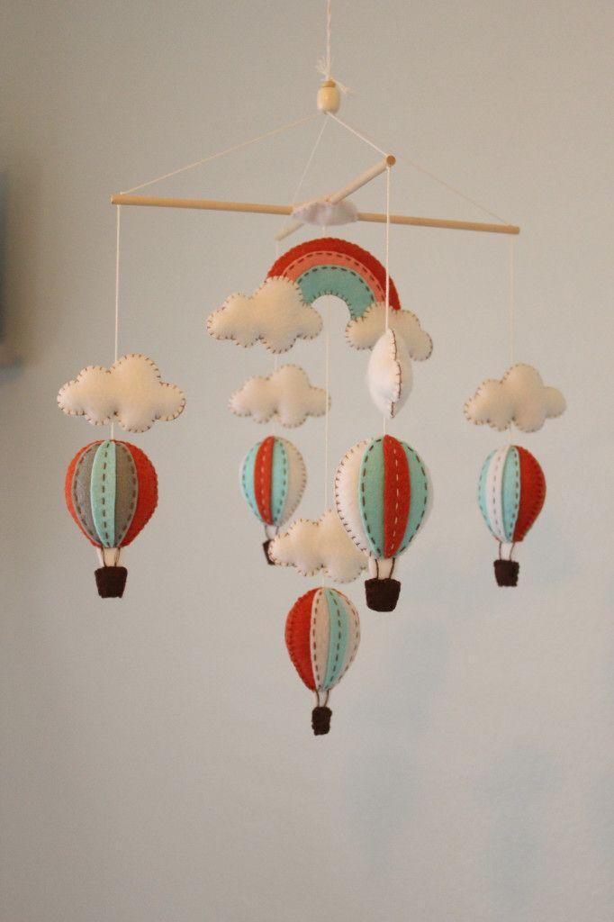coral and aqua hot air balloon mobile!!