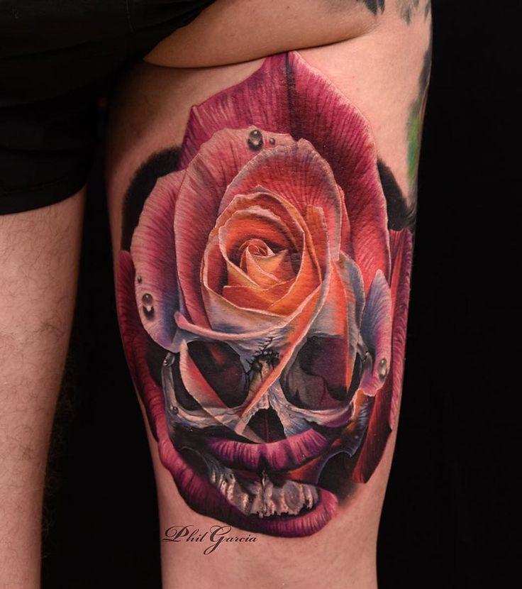 best 25 skull rose tattoos ideas on pinterest. Black Bedroom Furniture Sets. Home Design Ideas