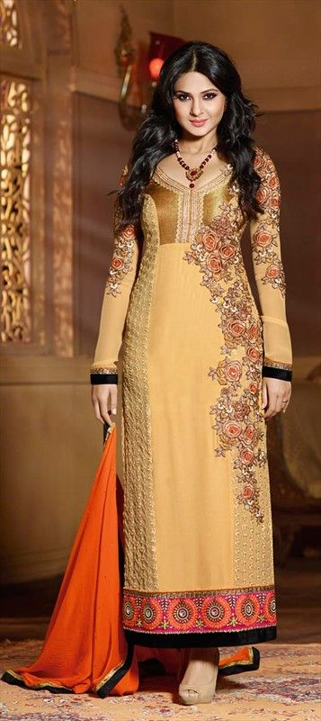 419673: Georgette, Viscose, Stone, Patch, Border, Thread, Machine Embroidery, Resham #JenniferWinget #Bollywood #Actress #Getthislook #modeling #onlineshopping #beige #salwarkameez #ethnic #partywear #wedding #bridal #gifts 3designer #floral