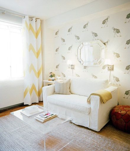 pretty chevron curtains and white sofa!