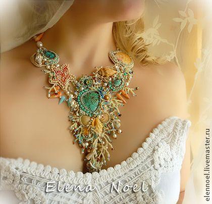 "Necklace, handmade beads.  Fair Masters - handmade Necklace ""Ocean Music"" freshwater pearls, sea shells, corals.  Handmade."
