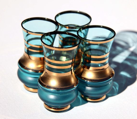 Aqua TIffany Blue and GOLD Mid Century Modern Shot Glasses Set of 4 Vintage or Modern Bar Tall Shooter Liquor Glass
