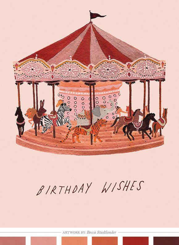 : Happy Birthday, Animal Illustrations, Carousels Cards, Becca Stadtland, Birthday Wish, Birthday Cards, Parties Theme, Vintage Cards, Beccastadtland