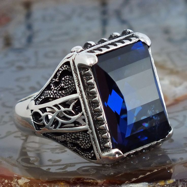 925 Sterling Silver Mens Ring with Sapphire Blue Zirconia Unique KaraJewels #KaraJewels #Turkish