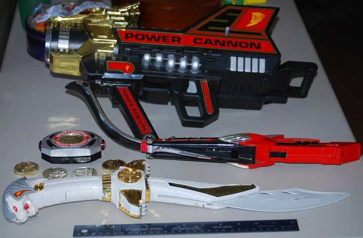 Mighty Morphin Power Rangers Weapon Lot - Morpher & Coins - Tiger Sword & More