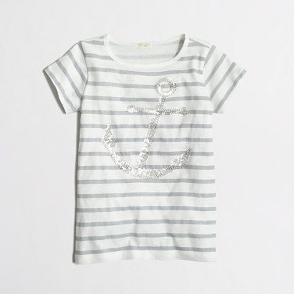 J.Crew Factory - Factory girls' stripe sequin anchor keepsake tee