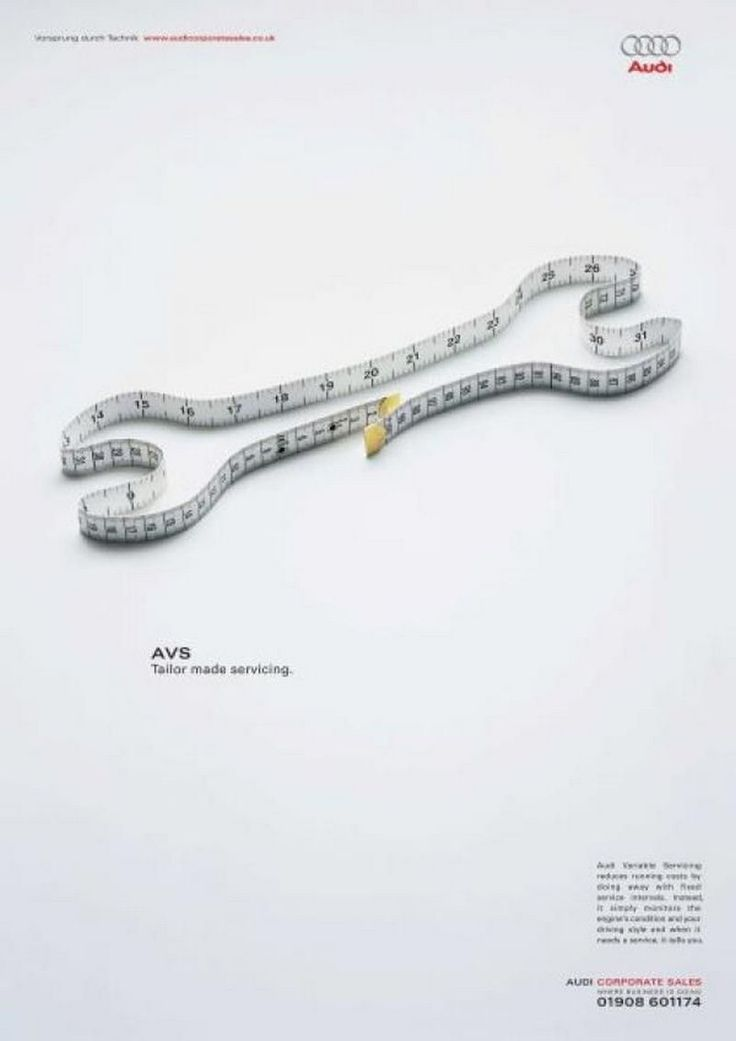"""Description: This ad shows a picture of a tape measure shaped into a tool. At the top, there are words of the brand """"Audi"""" as well as below """"AVS Tailor made servicing."""" The ad is very simple. It includes a lot of information on it and directs the viewer to Audi's sells department to purchase this service."""