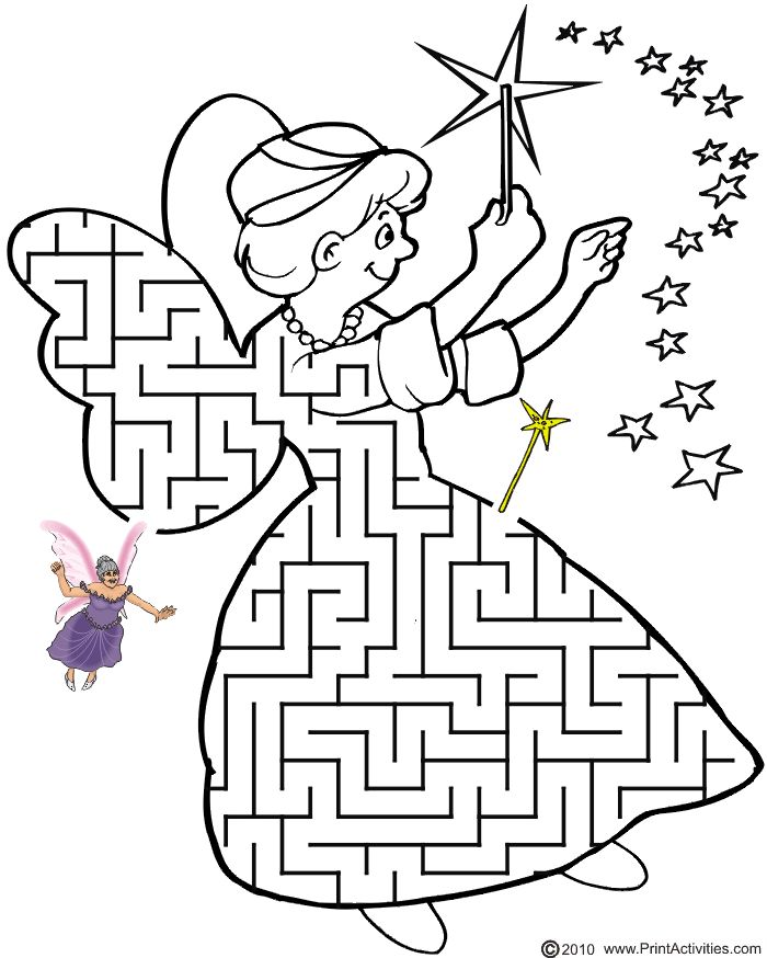 Printable Fairy Godmother Maze: Guide the fairy to her wand.