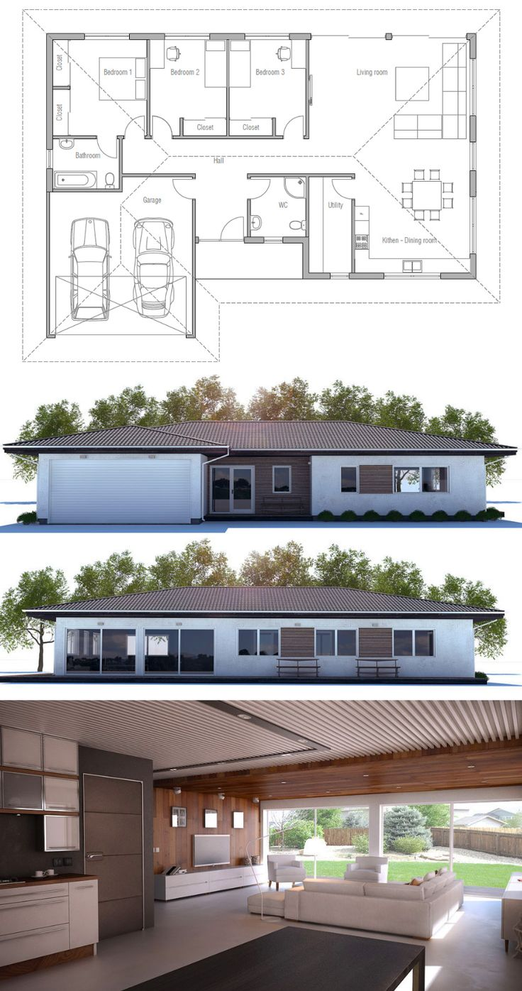 Simple modern house over project ideas dream house modern simple house - Small House Design With Three Bedrooms Simple Open Floor Plan