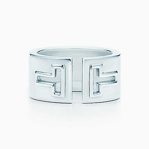 Tiffany T cutout ring in sterling silver.