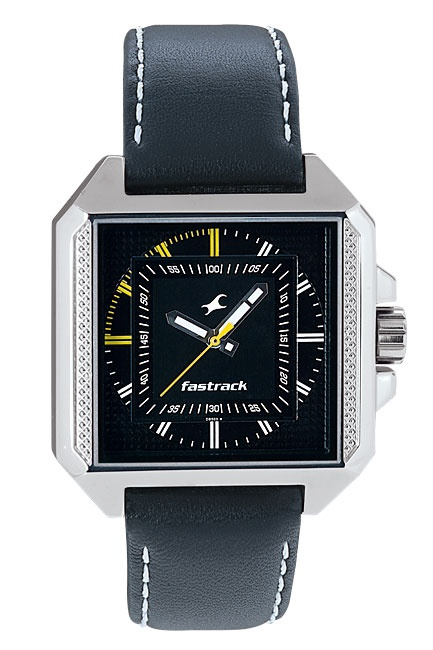 The only square shaped guys watch in the collection, this chunky case carries a rugged knurled pattern along the 9h and 3h side. The repeated change of shapes, from a square to a circular dial pattern and then a square window again, is matched well with the accents of colour on the dial to lend this analogue watch a complex and sporty look.  His & Hers from Fastrack    http://www.fastrack.in/product/3078sl02/?filter=yes=india=2=25&_=1340214981920#
