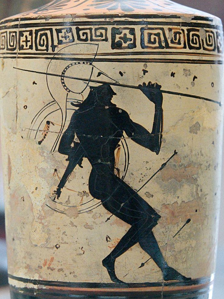 Warrior spear CdM Paris DeRidder299. Warrior holding a spear under a rain of arrows; nonsensical inscription. Attic white-ground black-figured lekythos, ca. 475–425 BC.