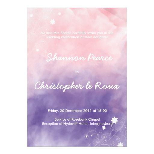 ピンク & 紫のグラデーションがきれいな結婚式招待状。おそろいの出欠葉書とセットでぜひ。#zazzle #ウェディング #結婚式
