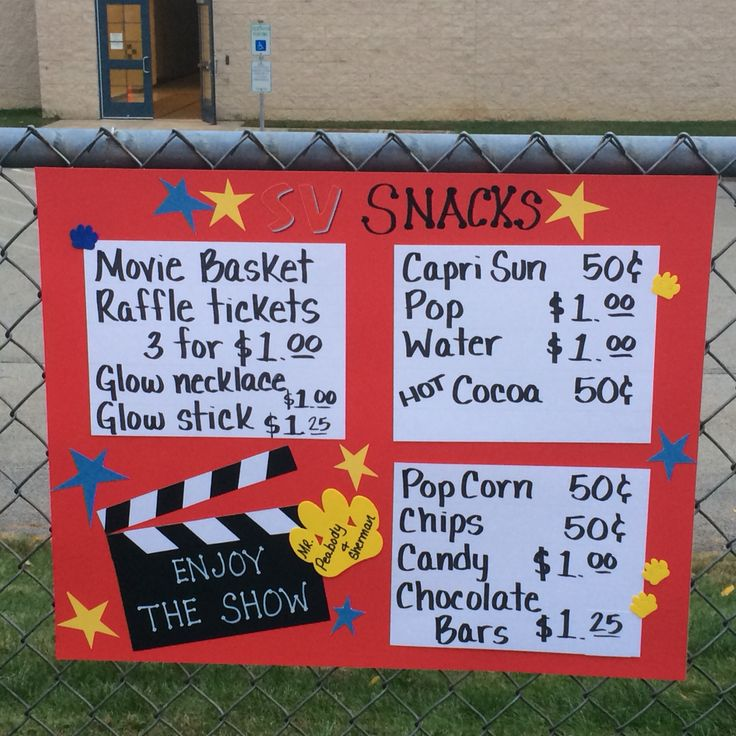 Concession stand sign for movie night.