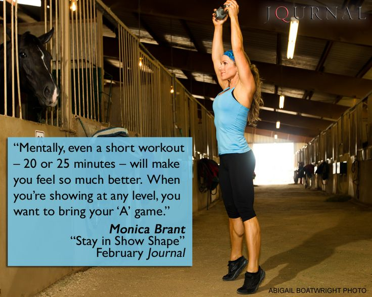 "For five exercises you can try right in your barn aisle, read ""Stay in Show Shape"" in the February American Quarter Horse Journal (www.aqha.com/journal). Certified personal trainer and equestrienne Monica Brant shows you how."