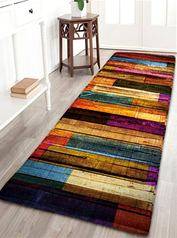 Colorful Stripes Wood Grain Flannel Area Rug