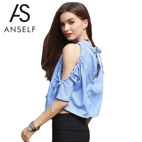 (13.39$)  Buy here  - New Fashion Women Cold Shoulder Backless T-Shirt Turn-Down Collar V Back Blouse Bandage Batwing Top Blue