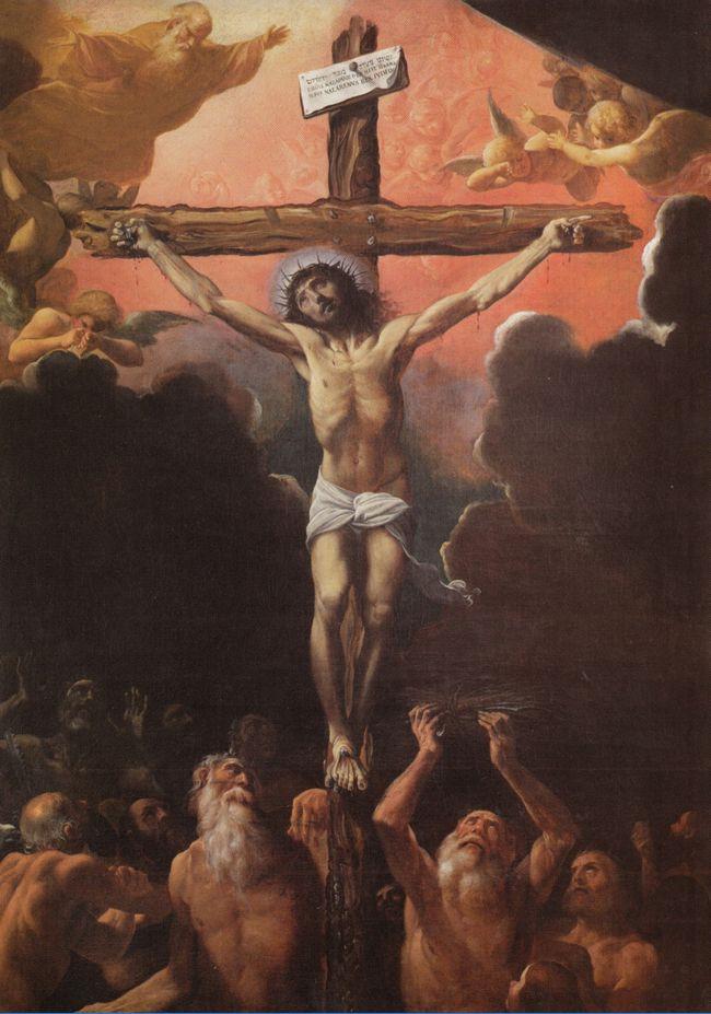 Fig. 1, Ludovico Carracci, La crocifissione con i padri del Limbo, 1614, Ferrara, Santa Francesca Romana