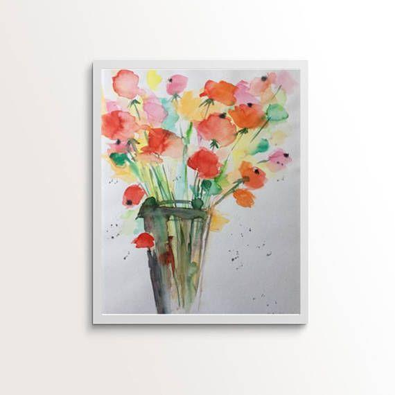 Original watercolor watercolor painting picture art colorful bouquet flowers Watercolor Art Bouquet