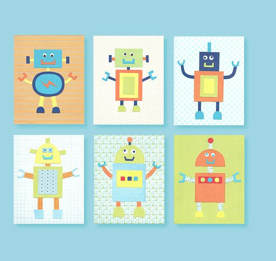 Robot Nursery Decor Blue Green Orange by SweetPeaNurseryArt